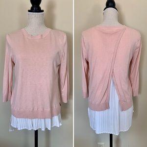 Calvin Klein Blush Pink Layered Knit Sweater, Sz M